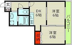 セラヴィ毛馬 2階2LDKの間取り