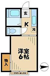 東京都多摩市永山2丁目の賃貸アパートの間取り