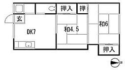 大阪府豊中市桜の町1丁目の賃貸アパートの間取り