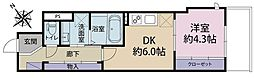 アンジェ百合丘 4階1DKの間取り