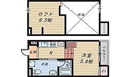 大阪府堺市堺区柳之町西2丁の賃貸アパートの間取り