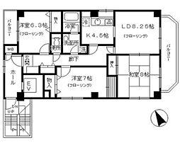 西武池袋線 椎名町駅 徒歩3分の賃貸マンション 2階3LDKの間取り