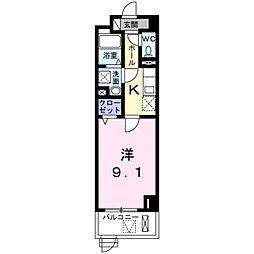 近鉄南大阪線 河堀口駅 徒歩2分の賃貸マンション 1階1Kの間取り