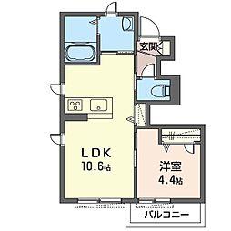 旭区さちが丘シャーメゾン (仮) 1階1LDKの間取り