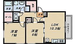 ラルジュエスパス[2階]の間取り