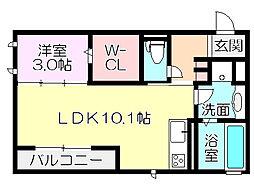 大阪府大阪市東住吉区針中野3丁目の賃貸アパートの間取り
