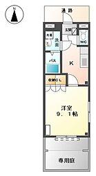 豊橋鉄道東田本線 競輪場前駅 徒歩4分の賃貸アパート 1階1Kの間取り