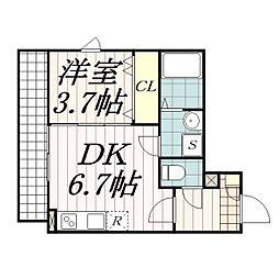 千葉県習志野市鷺沼5丁目の賃貸アパートの間取り