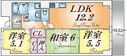 ルミエール神戸[4階]の間取り