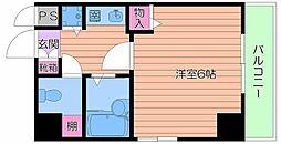 大阪府大阪市中央区瓦屋町3の賃貸マンションの間取り