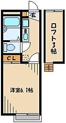 東武東上線 鶴瀬駅 徒歩24分の賃貸アパート 1階1Kの間取り