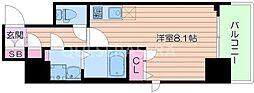 BPRレジデンス江坂 10階ワンルームの間取り