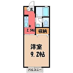 栃木県宇都宮市インターパーク3丁目の賃貸アパートの間取り