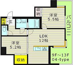 WOB京橋 11階2LDKの間取り