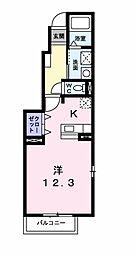 愛知県岡崎市井田西町の賃貸アパートの間取り