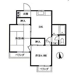 サンハイム石井[1-D号室]の間取り