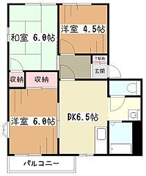 東京都東大和市芋窪4丁目の賃貸アパートの間取り
