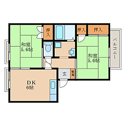 グランパス栗東B棟[2階]の間取り