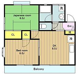 神奈川県横浜市旭区笹野台4丁目の賃貸アパートの間取り