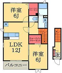 千葉県市原市うるいど南3丁目の賃貸アパートの間取り