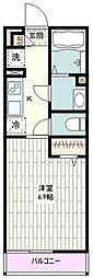 JR南武線 西国立駅 徒歩13分の賃貸マンション 3階1Kの間取り