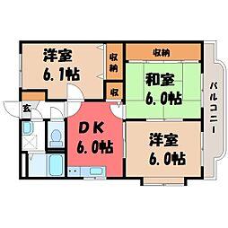 栃木県下都賀郡壬生町通町の賃貸マンションの間取り
