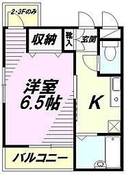 東京都八王子市大和田町2丁目の賃貸アパートの間取り