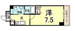 Groove Mukogawa(グルーヴ 武庫川) 6階1Kの間取り