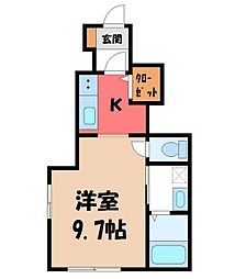 JR東北本線 宇都宮駅 バス20分 一里下車 徒歩4分の賃貸アパート 1階1Kの間取り
