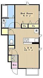 小田急江ノ島線 湘南台駅 徒歩8分の賃貸アパート 1階1LDKの間取り