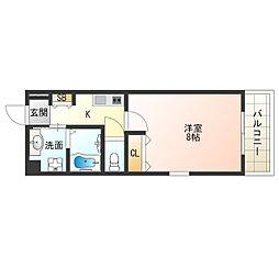 JR大阪環状線 西九条駅 徒歩6分の賃貸マンション 3階1Kの間取り