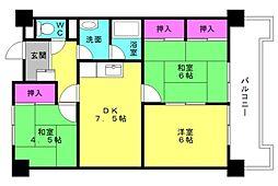 兵庫県加古川市平岡町一色東1丁目の賃貸マンションの間取り
