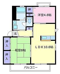 大阪府松原市三宅中6丁目の賃貸アパートの間取り