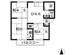 ガーデンビュー西中1棟[101号室]の間取り