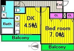 メルディア中野島 2階1DKの間取り