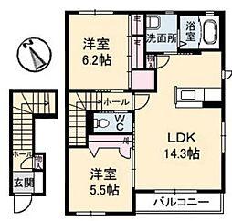 岡山県倉敷市神田1の賃貸アパートの間取り
