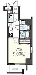JR山手線 五反田駅 徒歩6分の賃貸マンション 3階1Kの間取り