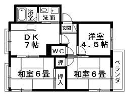 シャロムA・B棟[1階]の間取り