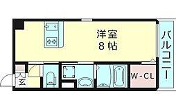 サンプロスペリティ 5階ワンルームの間取り
