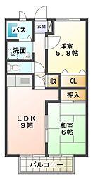 愛知県岡崎市渡町字薬師畔の賃貸アパートの間取り