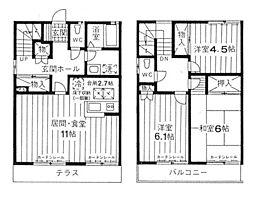 [テラスハウス] 神奈川県横浜市青葉区鴨志田町 の賃貸【/】の間取り