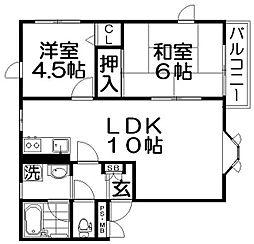 メゾンシャリオA棟[2階]の間取り