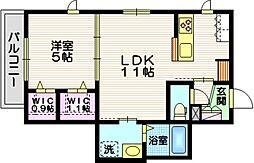 JR東海道本線 藤沢駅 徒歩11分の賃貸マンション 2階1LDKの間取り