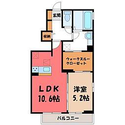 JR日光線 鹿沼駅 バス10分 リーバス栄町1丁目下車 徒歩17分の賃貸アパート 1階1LDKの間取り