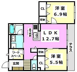 阪急京都本線 南茨木駅 徒歩23分の賃貸マンション 1階2LDKの間取り