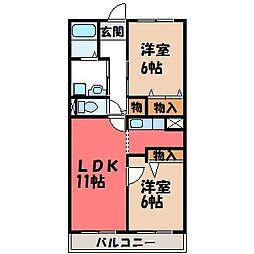 栃木県宇都宮市鶴田2の賃貸マンションの間取り