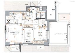 東京メトロ有楽町線 江戸川橋駅 徒歩3分の賃貸マンション 7階2Kの間取り
