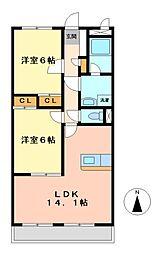 アーバンポイント三好II[4階]の間取り