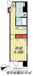 JR総武線 市川駅 徒歩6分の賃貸マンション 4階1Kの間取り