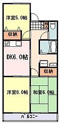 ガーデンハイムamie 2階3DKの間取り